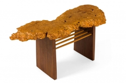 """Mira Nakashima Maple Burl, Black Walnut & Hickory """"Portsmouth"""" Side Table"""