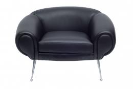 Black Leather Lounge Chair by Illum Wikkelsø