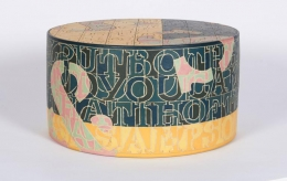 Sculptural Stoneware Object with Incised Letters by Bo Kristiansen