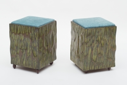 Phillip Lloyd Powell Painted Hand Carved Stools with Abstract Patterned Textile, 3/4 View 2