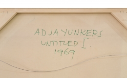 """Adja Yunkers Painting """"Untitled l"""", Close Up Back of Canvas"""