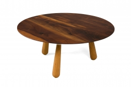 Walnut and Oak Round Coffee Table by Oluf Lund