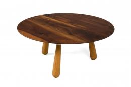Walnut and Oak Round Coffee Table by Oluf Lund
