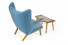"Hans J. Wegner Signed ""Papa Bear"" Chair & Ottoman for AP Stolen, Back 3/4 View"