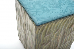 Phillip Lloyd Powell Painted Hand Carved Stools with Abstract Patterned Textile, Close Up Corner