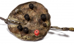 Harry Bertoia Patinated Silver Brooch with Coral and Ebony