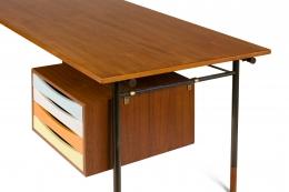 Finn Juhl Model BO69 Nyhavn Teak Desk with Extension for Bovirke, Close Up Drawers Closed