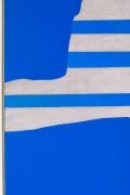 "Adja Yunkers Acrylic on Canvas Painting ""Stripes on Blue"""