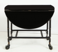 Jacques Adnet Leather Wrapped Drop-Leaf Serving Table on Casters, Side View