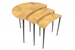 Aldo Tura Goatskin Crescent Nesting Tables