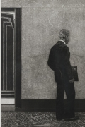 Etching of Man at Empire State Building Elevator by Max Ferguson