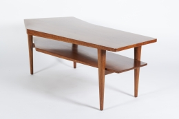 Walnut Coffee Table in the style of Bertha Schaefer for Singer & Sons, Side View 3/4