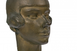 "Gertrude Vanderbilt Whitney Bronze Sculpture ""Young Woman"", Close Up 3/4"