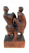 Hand-Carved Walnut Sculpture of Dancers by John Begg, Back