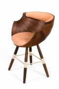 "Walnut and Leather ""Zun"" Dining or Conference Chair by Lop Furniture"