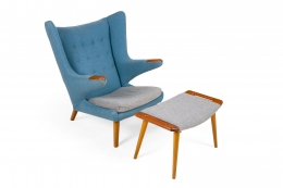 "Hans J. Wegner Signed ""Papa Bear"" Chair & Ottoman for AP Stolen"