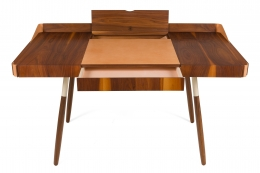 "Walnut and Leather ""Missboss Desk"" by Oluf Lund for Lop, Front View Drawers Opened"