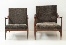 Brazilian Style Lounge Chairs with Lamb's Wool Upholstery
