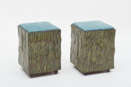 Phillip Lloyd Powell Painted Hand Carved Stools with Abstract Patterned Textile, 3/4 View