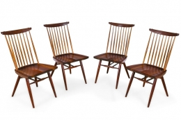 "George Nakashima Set of Four Walnut & Hickory ""New Chairs"""