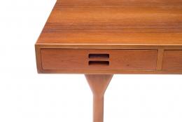 Nanna Ditzel & Jorgen Ditzel Teak Desk with Four Drawers, Close Up of Closed Drawer