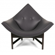 Adrian Pearsall Black Leather Coconut Chair, front