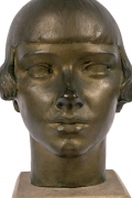"Gertrude Vanderbilt Whitney Bronze Sculpture ""Young Woman"", Close Up Front"