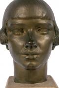 "Gertrude Vanderbilt Whitney Bronze Sculpture ""Young Woman"", Close Up Front"
