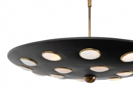Black Pendant Light with Glass Discs