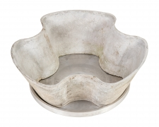 Eternit Scalloped Cast Concrete Planters with Aluminum Trays