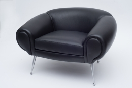 Black Leather Lounge Chair by Illum Wikkelsø