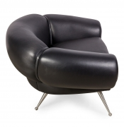 Black Leather Lounge Chair by Illum Wikkelsø, Side View