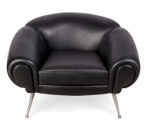 Black Leather Lounge Chair by Illum Wikkelsø, 2