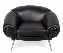 Black Leather Lounge Chair by Illum Wikkelsø, 2