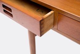 Nanna Ditzel & Jorgen Ditzel Teak Desk with Four Drawers, Close up of Side of Opened Drawer