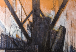 """Nick de Angelis """"Untitled"""" Oil on Board Painting, Close Up 3"""