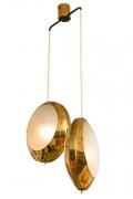 Stilnovo Brass & Textured Glass Double Pendant Light