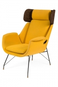 High Back Yellow Lounge Chairs by Augusto Bozzi for Saporiti