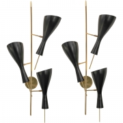 Three Brass and Metal Shade Midcentury Style Sconces