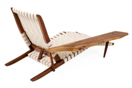 "George Nakashima Black Walnut ""Long Chairs"" with Free Edge Armrest"
