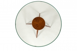Italian Glass and Mahogany Round Occasional Table in the Manner of Pietro Chiesa, Birds Eye View