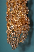 Palwa 14-Karat Gold Plated Brass and Cut Crystal Glass Sconce