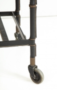 Jacques Adnet Leather Wrapped Drop-Leaf Serving Table on Casters, Close up of Wheels 2