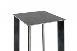 Artist Made Industrial Steel Pedestal Stand by Robert Koch, Top View