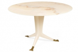 Ico Parisi Round Marble Top Table with Three Brass Footed Legs