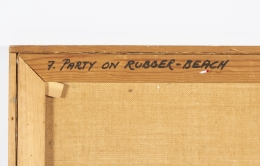 "Surrealist Painting ""Party on Rubber Beach"" by George Broe, Title Written on Back of Canvas"