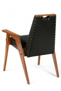 Set of 8 Wood Framed Dining Chairs Upholstered in Black Leather