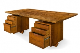 George Nakashima African Zebrawood & Walnut Double Pedestal Desk