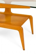 Gio Ponti Two-Tiered Ash Coffee Table with Glass Top, Italy, 1950s