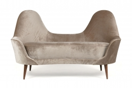 Camelback Settee in the Manner of Cesare Lacca in Mohair, front view